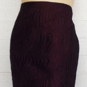 LAFAYETTE 148 royal purple swirls straight skirt 2